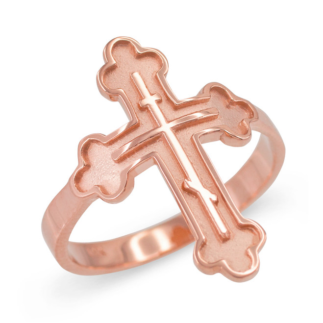 Russian Orthodox Cross Ring in Rose Gold