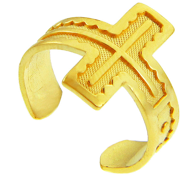 Yellow Gold Cross Toe Ring