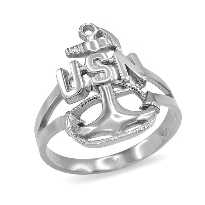 White Gold United States Navy Ring