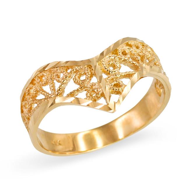 Yellow Gold Chevron Filigree Diamond Cut Ring