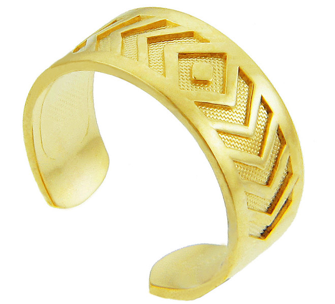 Yellow Gold Chevron Toe Ring