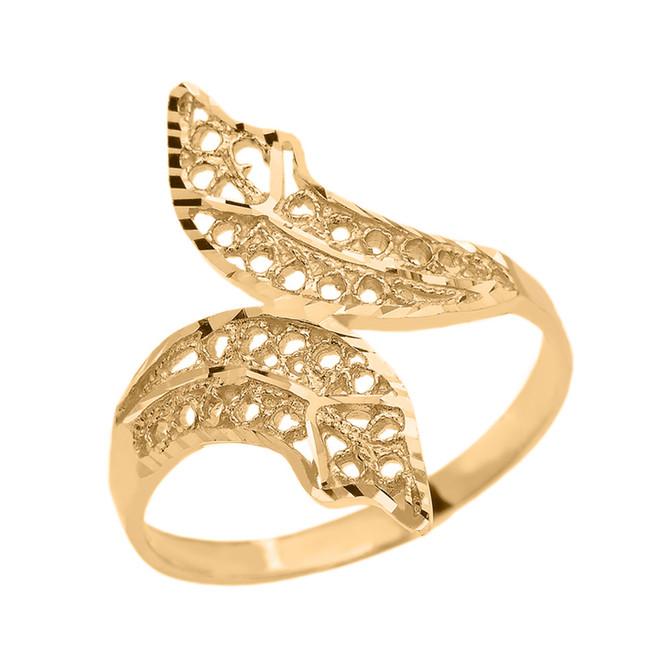 Gold Diamond Cut Filigree Double Leaf Ring