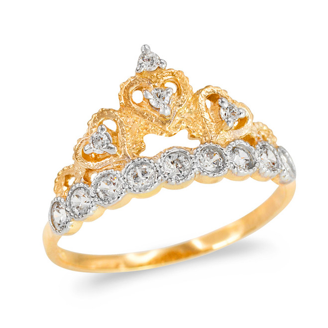 Gold CZ  Princess Crown Ring