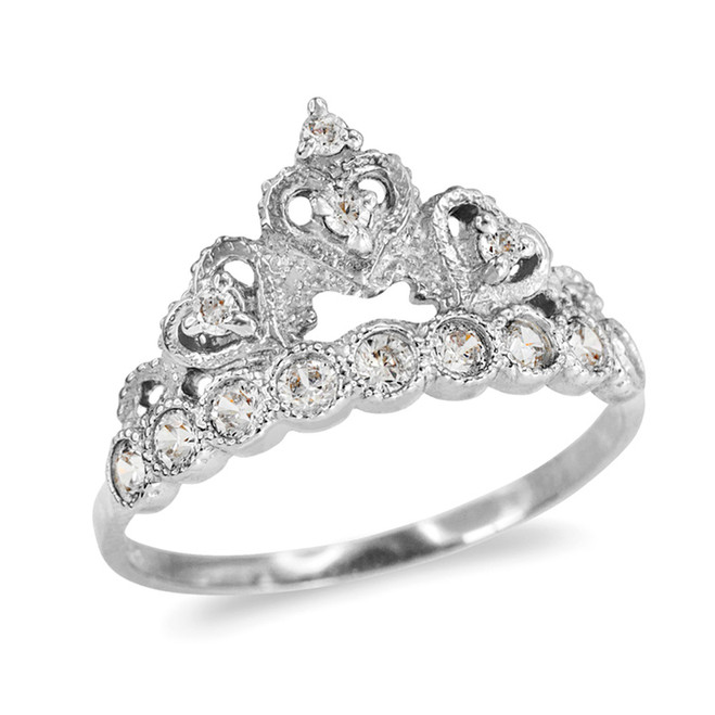 White Gold CZ  Princess Crown Ring