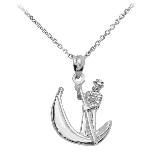 White Gold Polished Gondola Pendent Necklace
