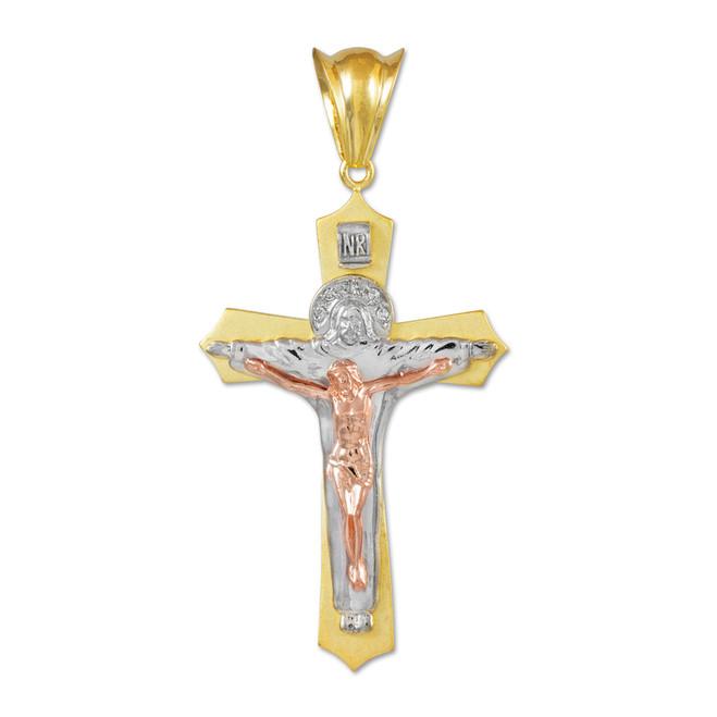 Three-Tone Gold Holy Trinity Crucifix Pendant