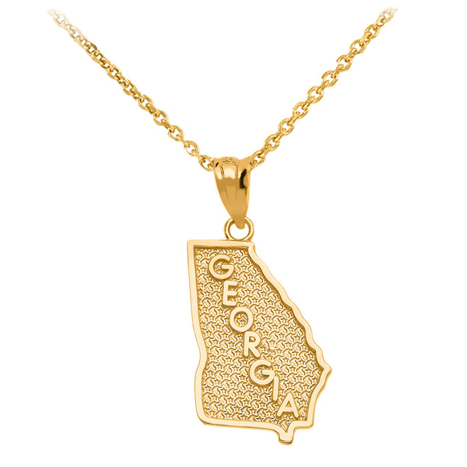 Yellow Gold Georgia State Map Pendant Necklace