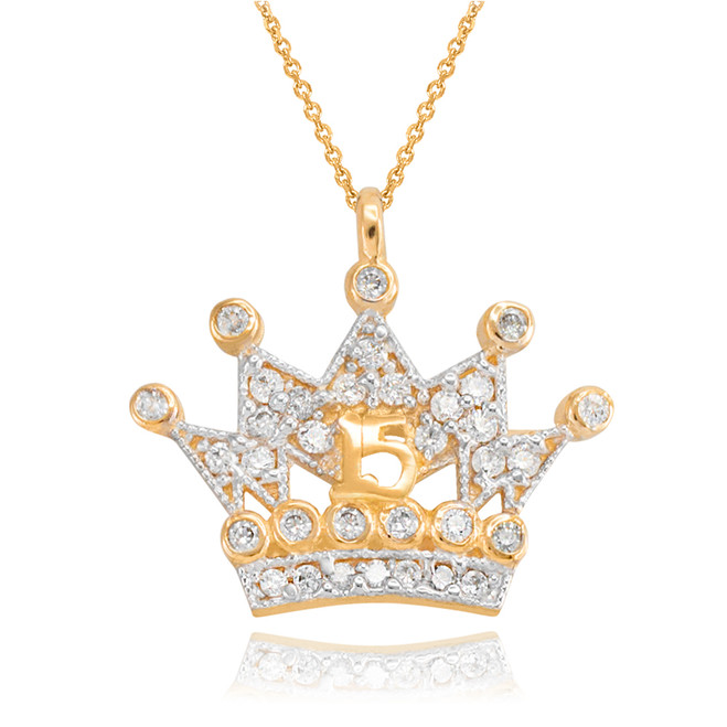 Gold Quinceanera Princess Crown Pendant Necklace