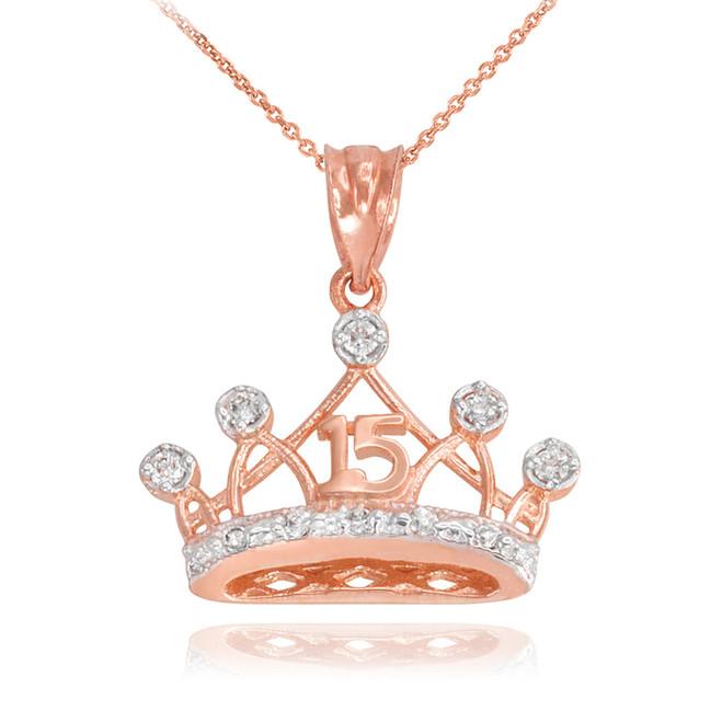 Rose Gold Quince Crown Pendant Necklace