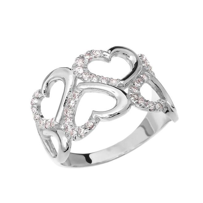 Fancy Elegant White Gold Open Hearts Micro Set Diamond Promise Ring