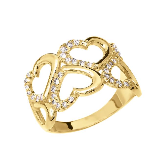 Fancy Elegant Yellow Gold Open Hearts Micro Set Diamond Promise Ring