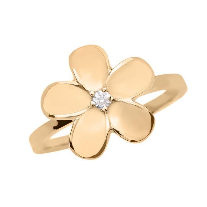 Yellow Gold Diamond Plumeria Flower Ring