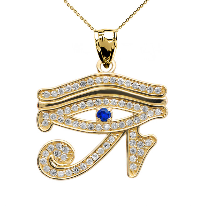 Eye of Horus Yellow Gold CZ Pendant Necklace