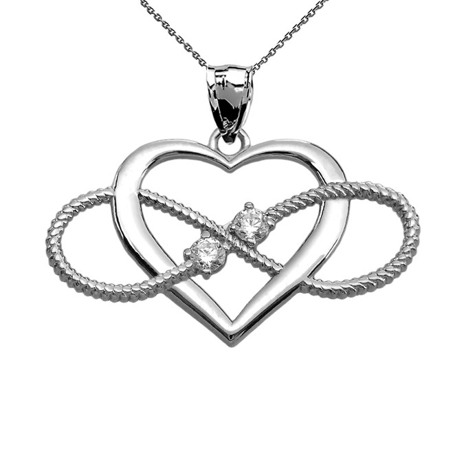 Heart and Infinity White Gold and Diamond Rope Design Pendant Necklace