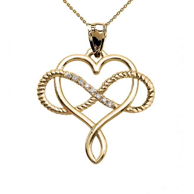Infinity and Heart Intertwined Diamond Yellow Gold Rope Design Pendant Necklace