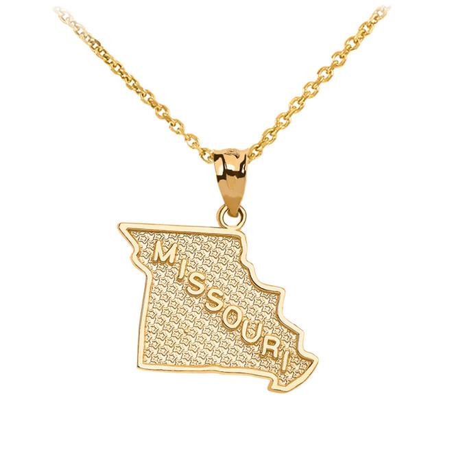 Yellow Gold Missouri State Map Pendant Necklace