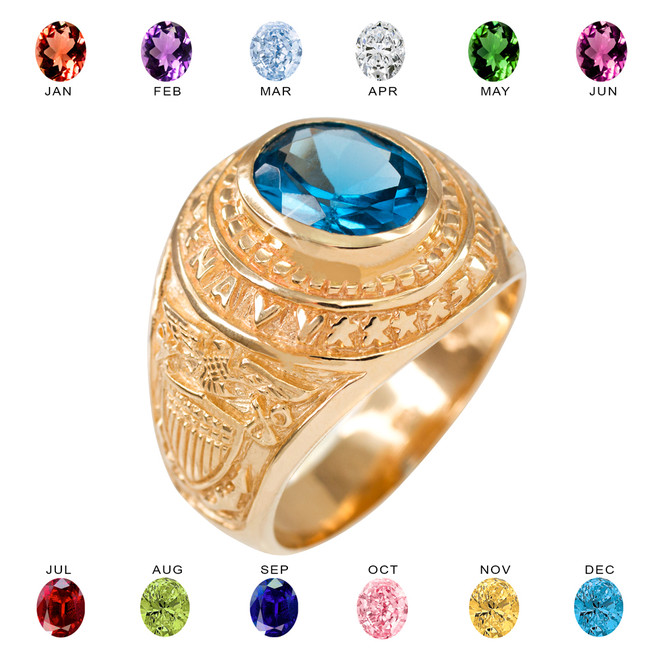 Solid Gold US Navy Men's CZ Birthstone Ring