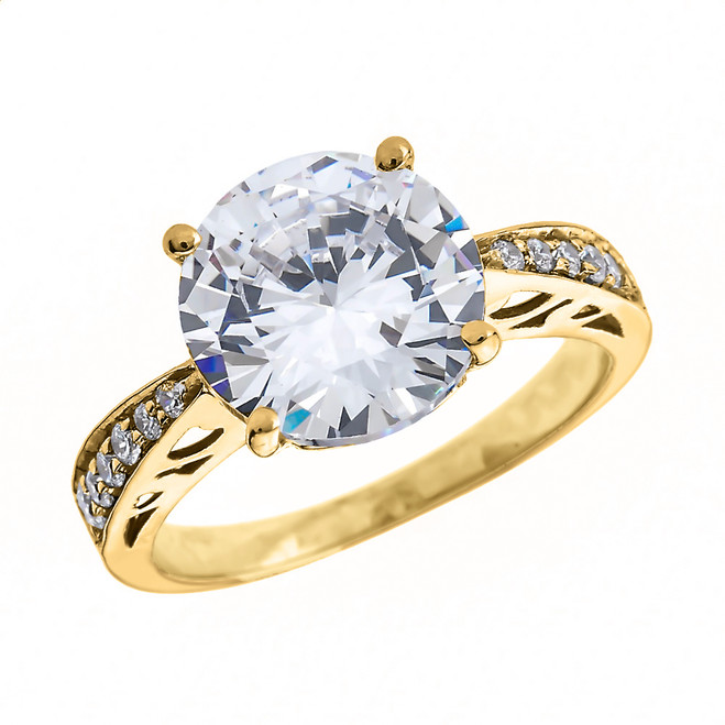 Diamond Yellow Gold Engagement and Proposal Ring With 4 Carat White Topaz Centerstone