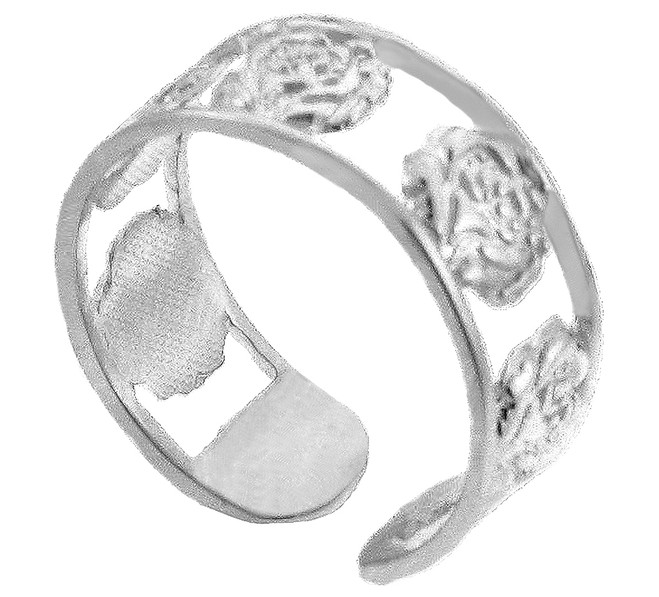 Silver Roses Toe Ring