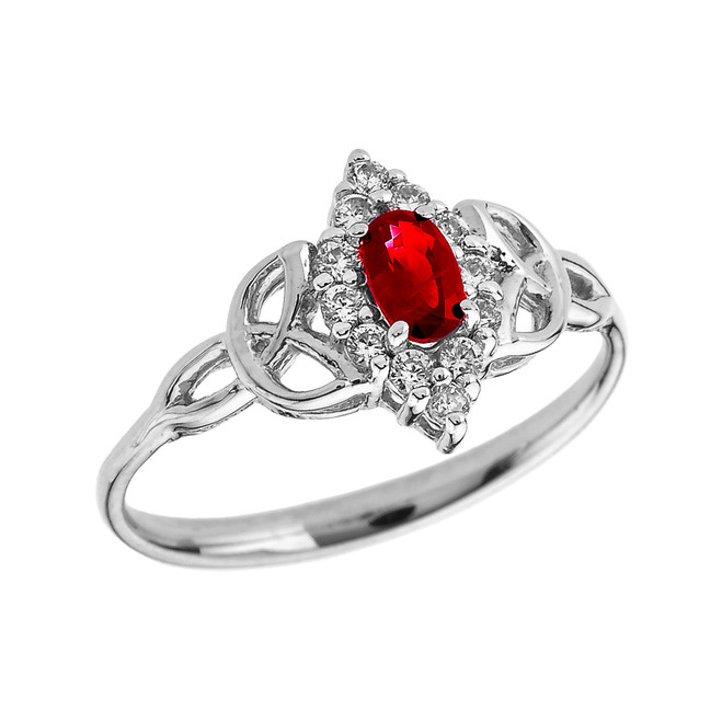 White Gold Diamond and Oval Ruby Trinity Knot Proposal Ring