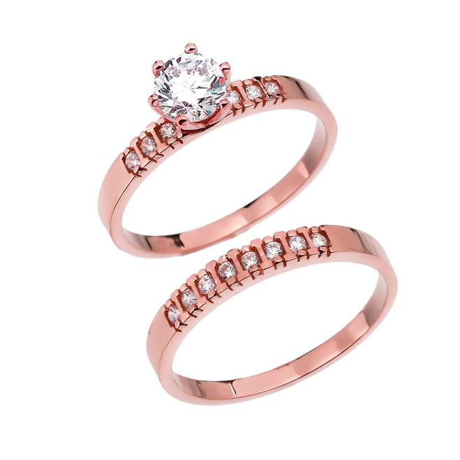 Diamond Rose Gold Engagement And Wedding Ring Set With 1 Carat White Topaz Center stone
