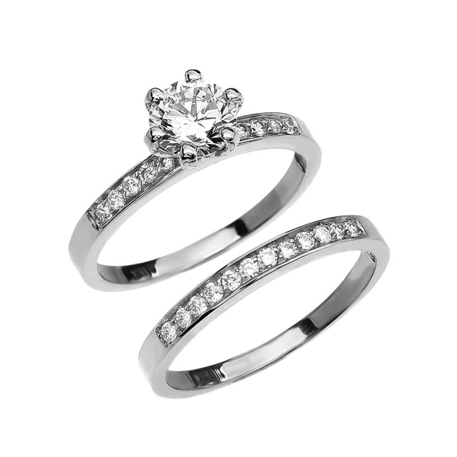 Diamond White Gold Engagement And Wedding Solitaire Ring Set With 1 Carat White Topaz Center stone