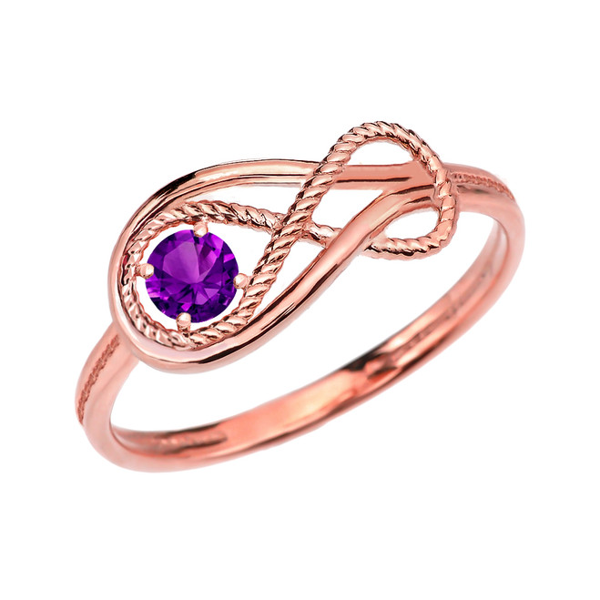 Amethyst Rope Infinity Rose Gold Ring