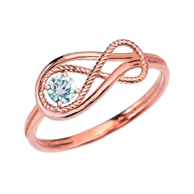 Aquamarine Rope Infinity Rose Gold Ring