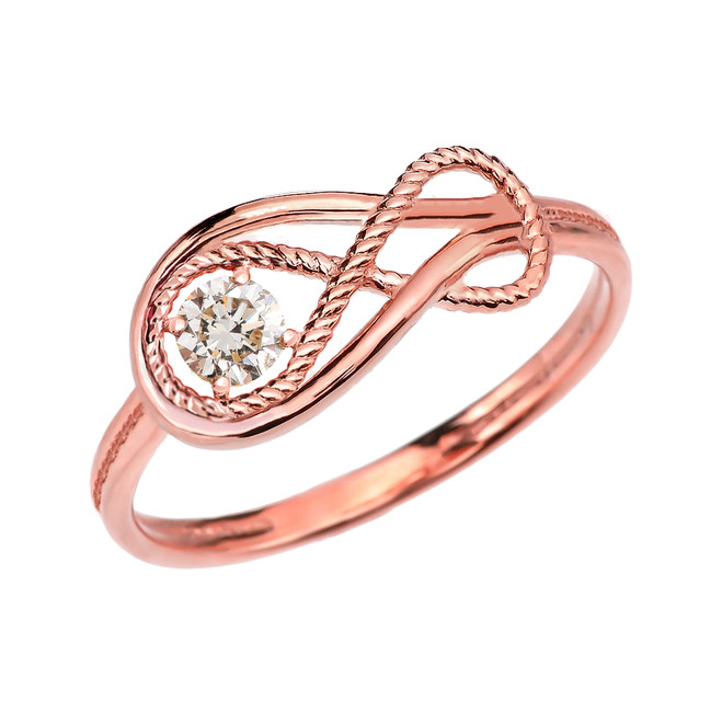 CZ Rope Infinity Rose Gold Ring