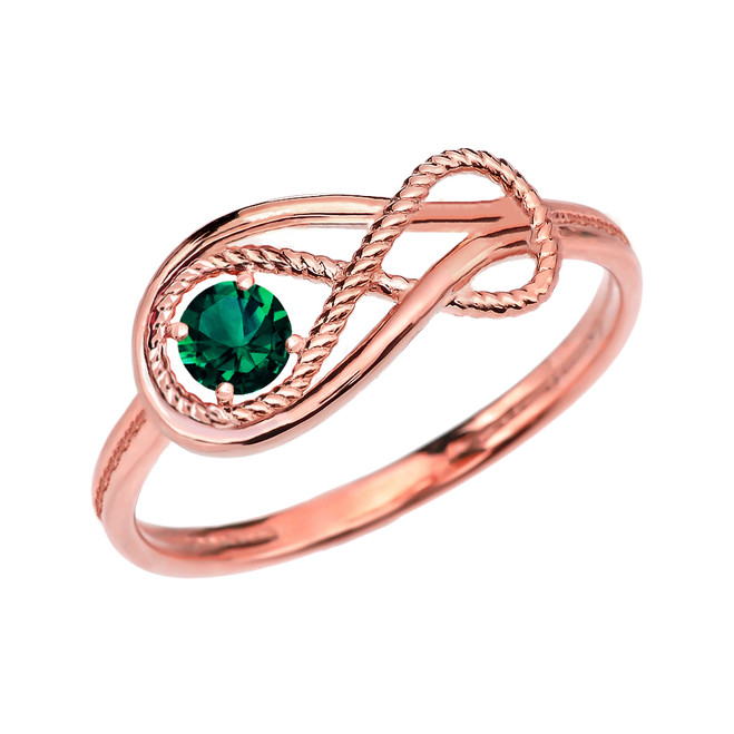 Emerald Rope Infinity Rose Gold Ring