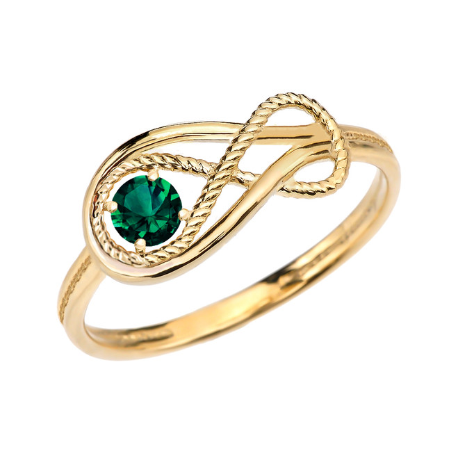 Emerald Rope Infinity Yellow Gold Ring