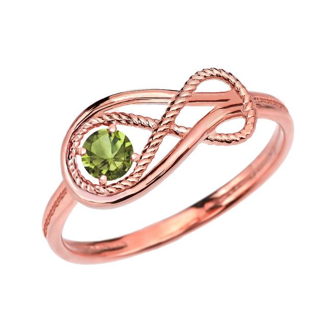 Peridot Rope Infinity Rose Gold Ring