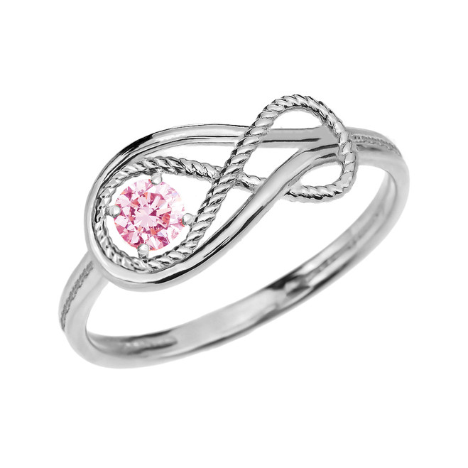 Pink CZ Rope Infinity White Gold Ring