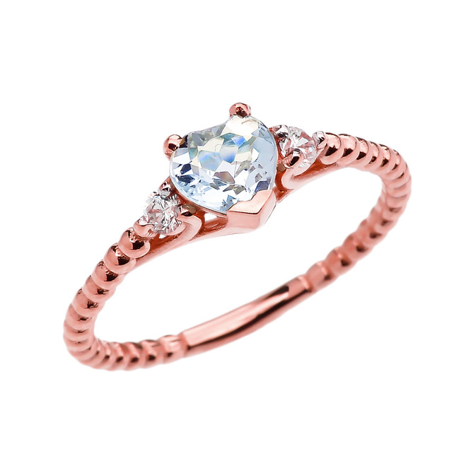 Aquamarine Solitaire Heart And White Topaz Rose Gold Beaded Band Promise Ring