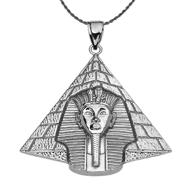 Antique Vintage Style Sterling Silver Egyptian Pyramid King Tut (Tutankhamun) Pendant Necklace