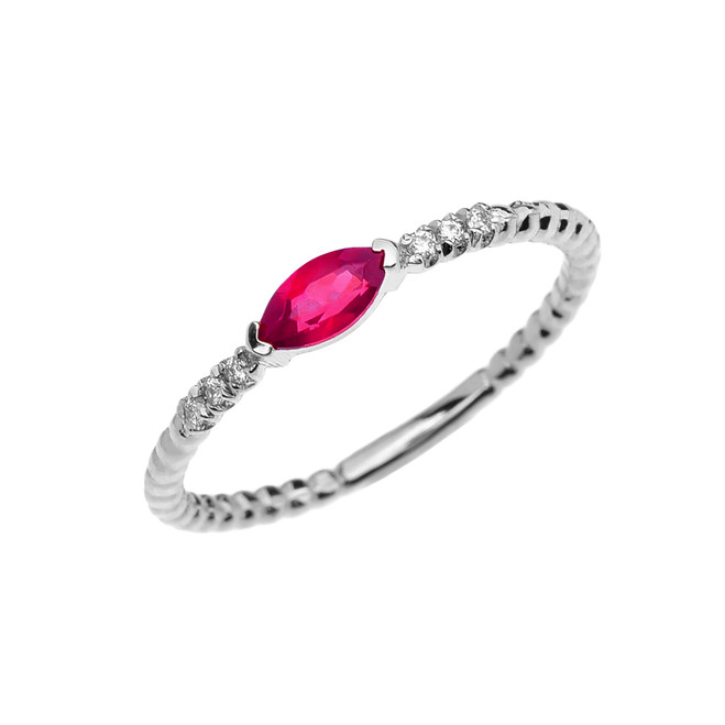 Diamond and Ruby Marquise Solitaire Beaded Band Proposal/Stackable White Gold Ring