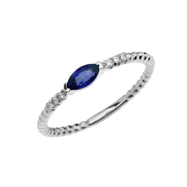 Diamond and Sapphire Marquise Solitaire Beaded Band Proposal/Stackable White Gold Ring