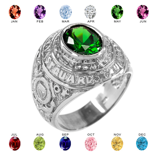 Solid White Gold US Coast Guard CZ Birthstone Ring