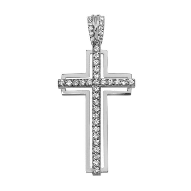 White Gold 1.5 Carat Diamond Cross Pendant