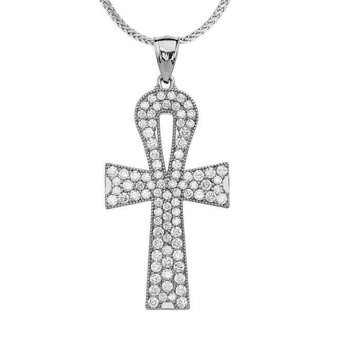 White Gold 5 Carat Cubic Zirconia Ankh Cross Pendant Necklace