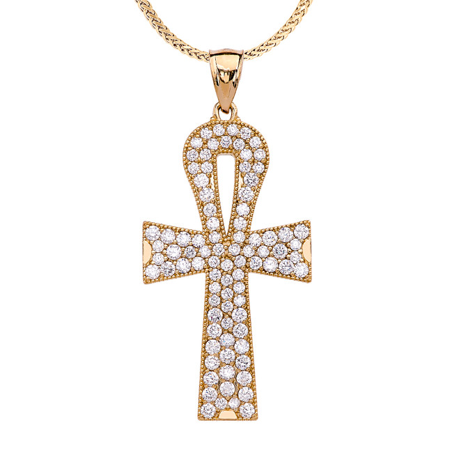 Yellow Gold 5 Carat Cubic Zirconia Ankh Cross Pendant Necklace