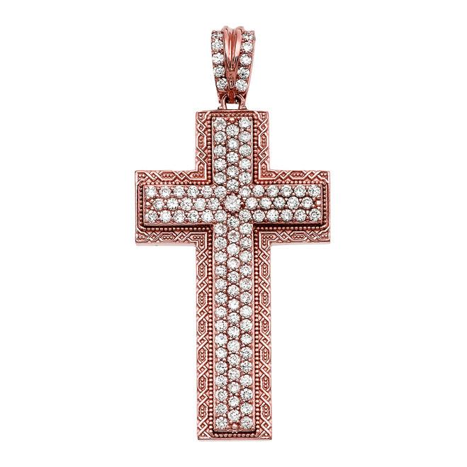 Rose Gold 3 Carat Diamond Cross Pendant