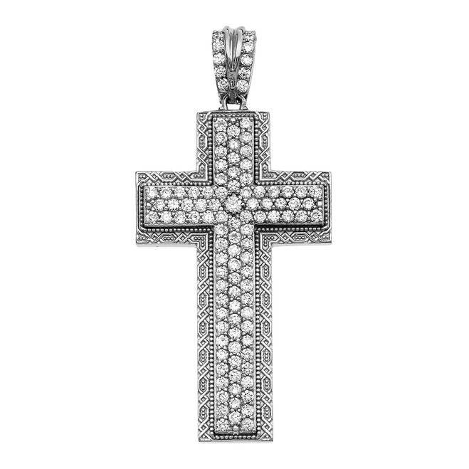 White Gold 4.5 Carat Cubic Zirconia Cross Pendant