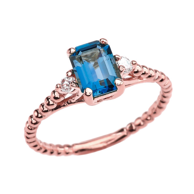 1.5 Carat London Blue Topaz Solitaire Rose Gold Beaded Ring With White Topaz Sidestones