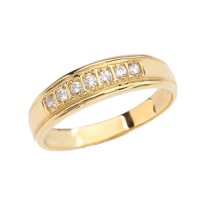 Diamond Wedding Band For Men in Yellow Gold