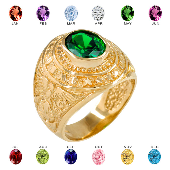 Solid Gold US Marine Core Men's CZ Birthstone Ring