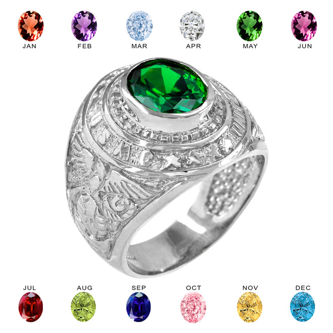 Solid White Gold US Marine Core Men's CZ Birthstone Ring