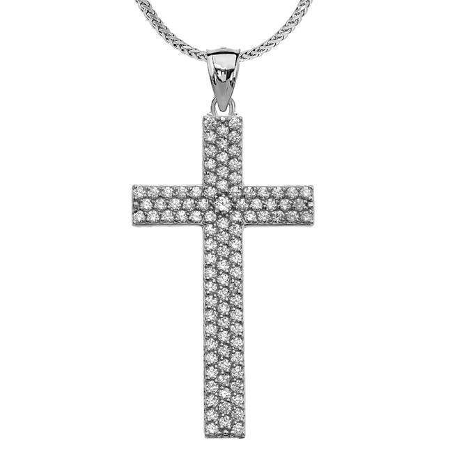 3 Carat Cubic Zirconia White Gold Cross Pendant Necklace