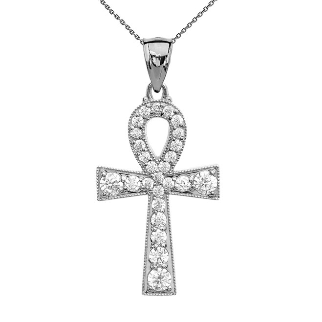 Ankh Cross Cubic Zirconia Sterling Silver Pendant Necklace
