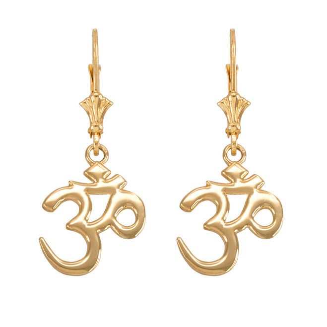 14K Gold Om (Aum) Leverback Earrings
